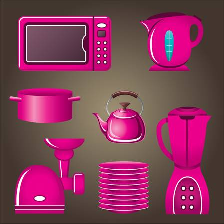 Set pink cookware and kitchen appliances Stock Vector - 20910752