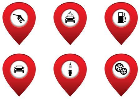 auto washing: Set of map pointers   Illustration