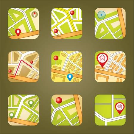 City map with GPS icons Stock Vector - 20915968