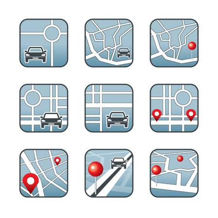 City map with GPS icons Stock Vector - 20915970