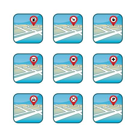 pin icon: City map with GPS icons   Illustration