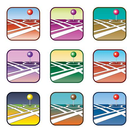 City map with GPS icon  Set Stock Vector - 20915972