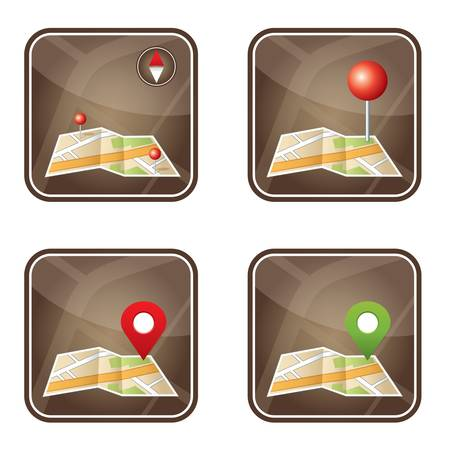 City map with GPS icons   Stock Vector - 20915974