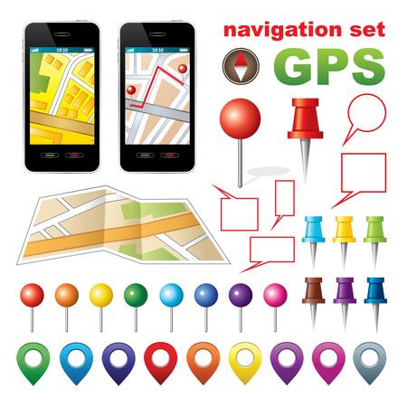 Navigation set with icons GPS  Stock Vector - 20910875