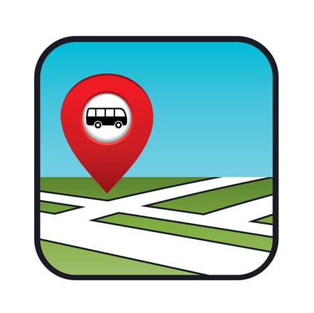 Street map icon with the pointer bus stop Stock Vector - 20911416