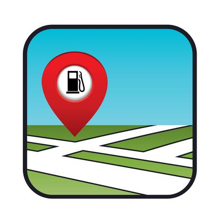 Street map icon with the pointer gas station Stock Vector - 20911436