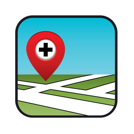 infirmary: Street map icon with the pointer pharmacies, hospitals   Illustration