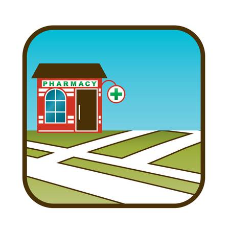 pharmacy store: Icon of pharmacy with street map  Illustration