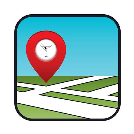 Street map icon with the pointer bar  Stock Vector - 20916035