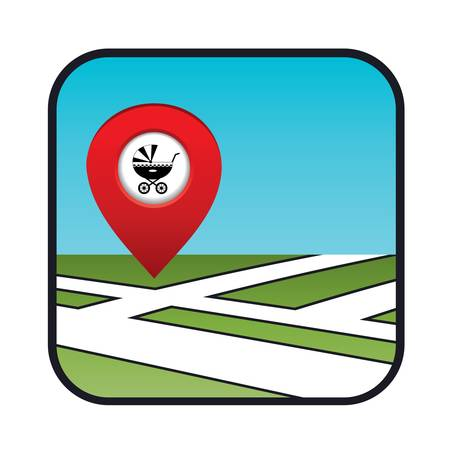 Street map icon with the pointer Stock Vector - 20916038