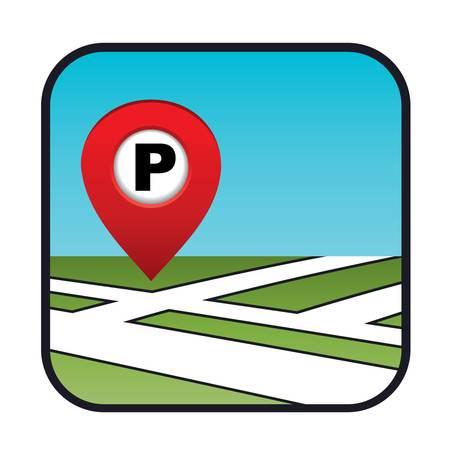 Straßenkarte mit dem Zeiger Parkplatz Standard-Bild - 20916042