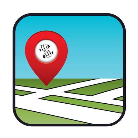 Street map icon with the pointer fish restaurant Stock Vector - 20916043