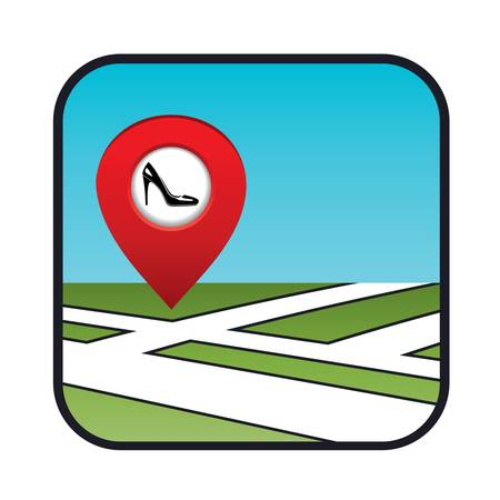 shoe shop: Street map icon with the pointer shoe shop