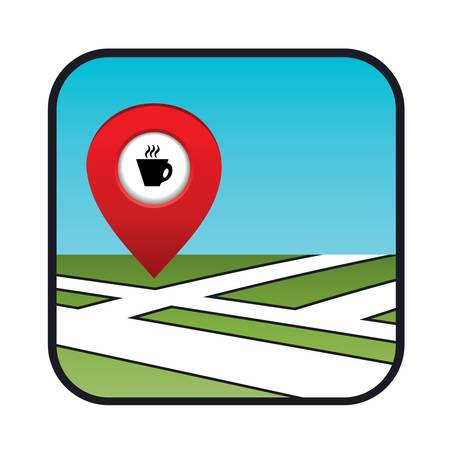 coffee shops: Street map icon with the pointer coffee shops, cafes  Illustration