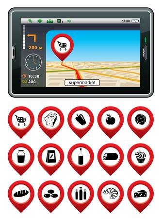 gps navigator: GPS navigator with the pointer supermarket