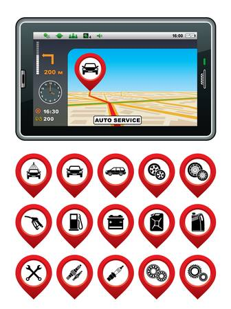 gps navigator: GPS navigator with the pointer autoservice