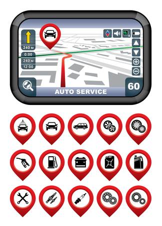 GPS navigator with the pointer autoservice   Stock Vector - 21917839