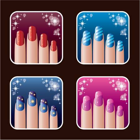 manicure pink: Set of icons of women