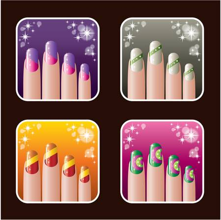 finger nails: Set of icons of women