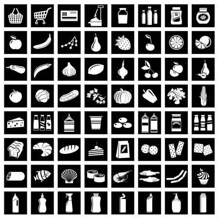Set van supermarkt symbolen Vector illustratie Stock Illustratie