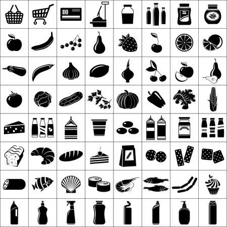 cesta de frutas: Conjunto de s�mbolos supermercado ilustraci�n vectorial