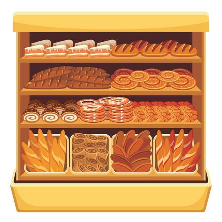 cheese bread: Supermarket  Bread showcase  Illustration