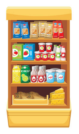 grocery shelves: Supermarket  Products Illustration