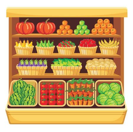 edibles: Immagine di scaffali in un supermercato con frutta e verdura. Vettoriali