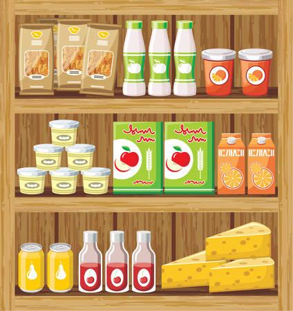 Afbeelding van een rek van hout met de producten in de winkel. Stockfoto - 22964871