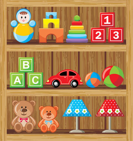baby wardrobe: Shelfs with toys Illustration