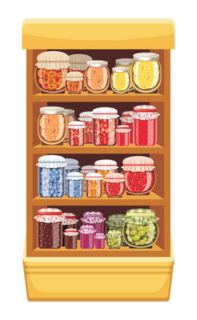 Store shelves with jam Vector