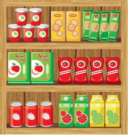 Supermarket. Shelfs with food. vector  Vector