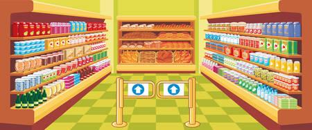tiendas de comida: Supermercado. vector Vectores