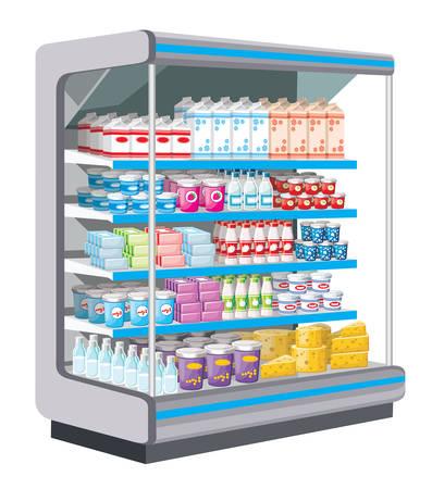 Supermarkt. Zuivelproducten. vector Stockfoto - 23857376