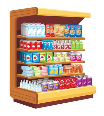 shelves: Supermarket. vector  Illustration