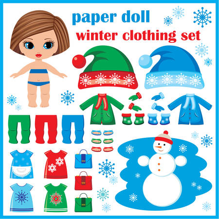 Paper doll with winter clothes set. vector Vector