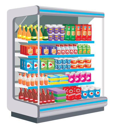 refrigerated: Supermarket. Dairy products. vector