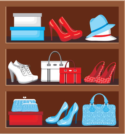 fashion story: Shelf with bags and shoes. vector