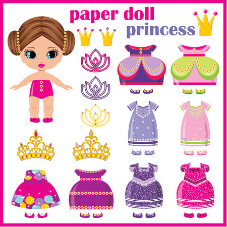 Paper doll princess with a set of clothes. vector  Ilustração