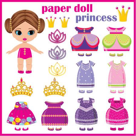 Papieren pop prinses met een stel kleren. vector