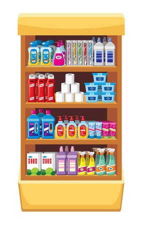 bleach: Shelfs with household chemicals.