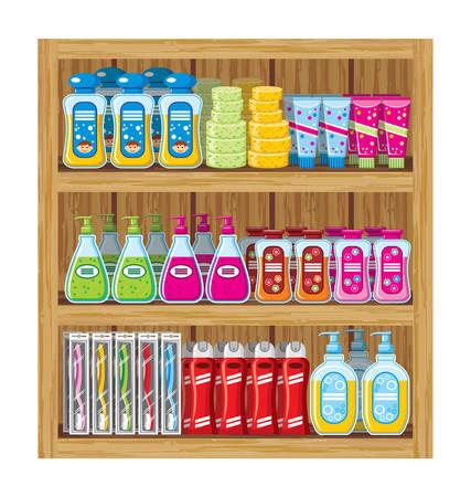 supermarket shelf: Shelfs with household chemicals.