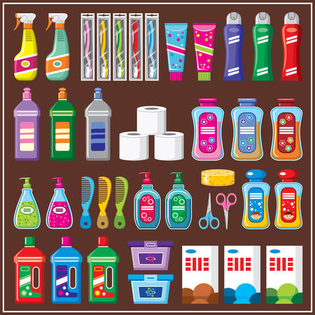 toothpaste tube: Set of household chemicals.  Illustration