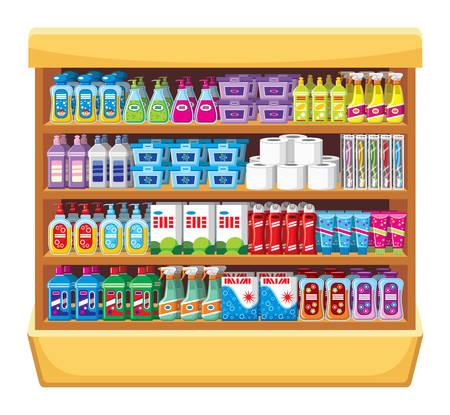 champu: Estanterías con productos químicos domésticos. Vectores