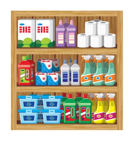 Rekken met huishoudelijke chemicaliën.