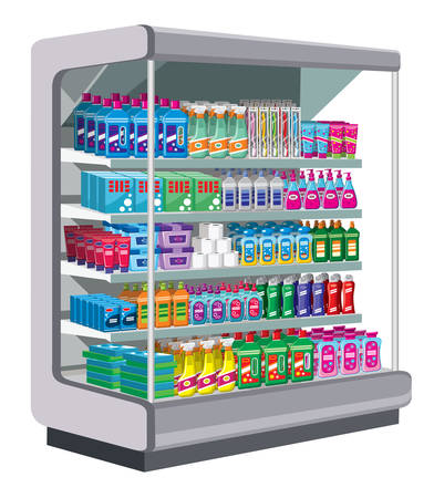 Shelfs with household chemicals. vector Vector