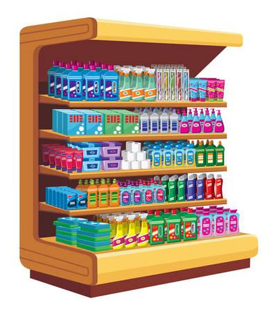 desinfectante: Estanterías con productos químicos domésticos. vector