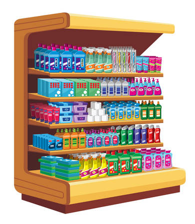 disinfect: Shelfs with household chemicals. vector Illustration