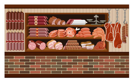 grocery shelves: Meat market. vector