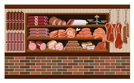 grocery shelves: Meat market. vector